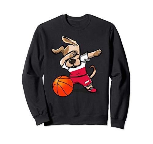 Funny Dabbing Dog Basketball かわいい犬ポーランドバスケットボールポーランド国旗スポーツ トレーナー