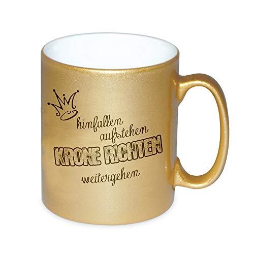 4you Design Goldene Tasse Hinfallen, aufstehen, Krone richten, weitergehen Kaffeetasse Kaffeebecher Geburtstagsgeschenk Geschenkidee für sie Mutter/Freundin/Schwester