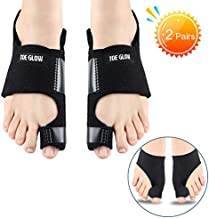 Bunion Corrector & Bunion Relief Protector Sleeves Kit - Bunion Splints Big Toe Straightener for Hallux Valgus Aid Surgery, Day Night Support (Black + Black, L:Women Size 7.5-11 / Men Size 6-10)