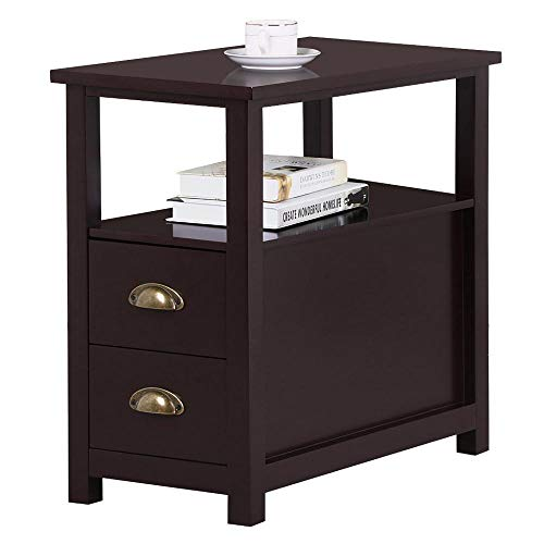 Yaheetech Chairside End Table with 2 Drawer and Shelf Narrow Nightstand