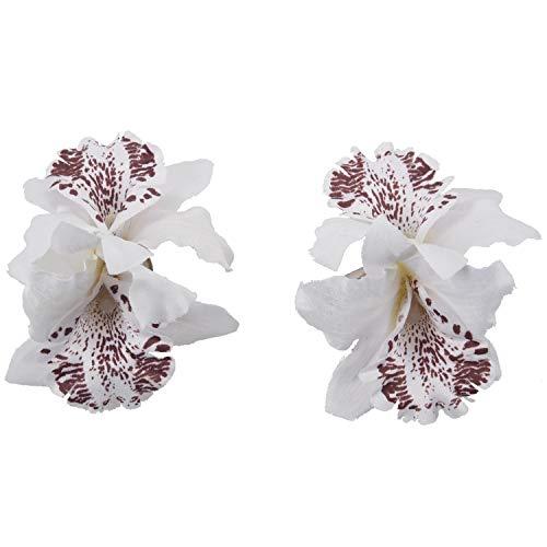 Huante Lot de 2 pinces à cheveux en forme de fleur d'orchidée Blanc