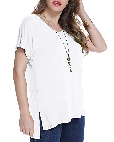 JollieLovin Women's Short Sleeve T Shirt V Neck Loose Tops $6 (70% Off at checkout)