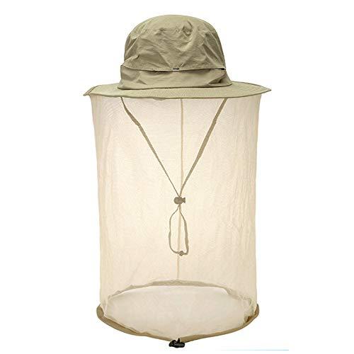 Faletony Kopfnetz Moskito Sonnenhut, Mückenschutz UV Schutz Buschhut Anglerhut Fischerhüte Safari Moskitonetz Hut für Damen Herren (Khaki)
