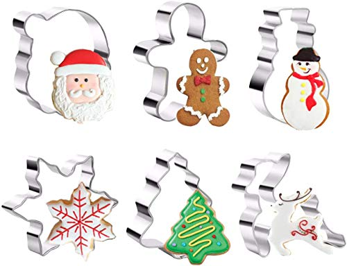 Christmas Cookie Cutters Set - Gingerbread,Snowman, Reindeer,Small Christmas Star Tree & More Shapes Stainless Steel for Christmas Holiday (A)