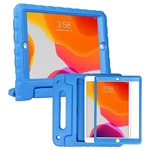 HDE iPad 7th Generation Case for Kids with Built-in Screen Protector – iPad 10.2 inch 2019 Case for Kids Shock Proof Protective Heavy Duty Cover with Handle Stand for 2019 Apple iPad 10.2 - Blue