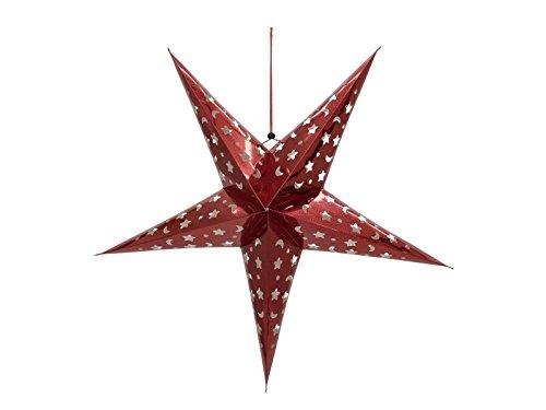 Europalms papieren lantaarn om op te hangen in stervorm kleur rood 75 cm