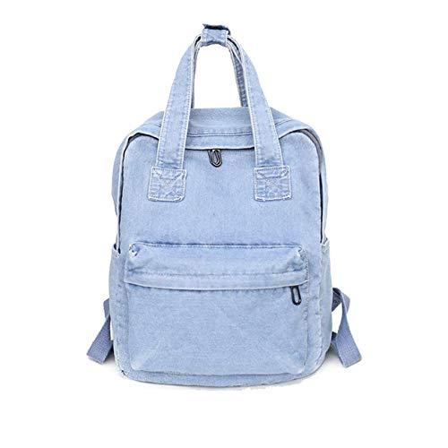 Damen Fashion Jean Rucksack Frauen Einfarbig Backpack Mädchen Schulrucksack Daypacks (Blau NO 1)