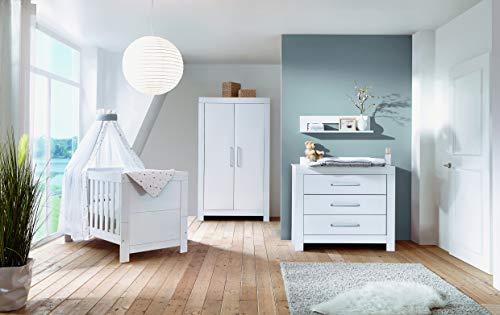 Schardt 11 795 02 00 Kinderzimmer Nordic White bestehend aus Kinderbett, Umbauseiten, Wickelkommode und 2-trg. Schrank, weiß