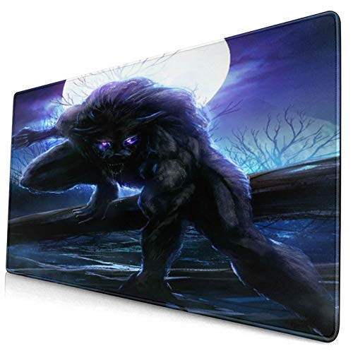 CANCAKA Large Gaming Mouse Pad,Surreal Werewolf with Electric Eyes in Full Moon Transformation Folkloric Floral,Non-Slip Rubber Mouse Pads Mousepad for Gaming Computer Office Desk,75×40×0.3cm