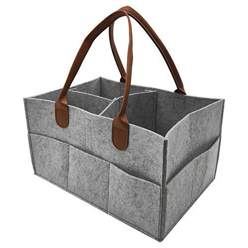 Bolsa para pañales de bebé, organizador de pañales, cesta de fieltro con compartimentos intercambiables para habitación de los niños, coche y viaje (gris claro)
