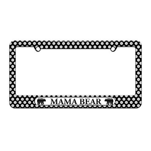 Graphics and More Mama Bear - License Plate Tag Frame - Polka Dots Design
