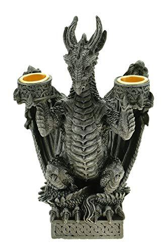 2963 GOTHIK Kerzenhalter DRACHE für 2 Kerzen 21cm