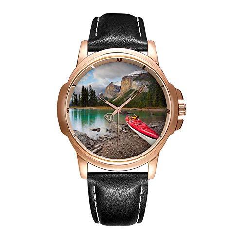Bracelet en Cuir de Quartz d'analogue de Montre-Bracelet imperméable de Mode de personnalité d'hommes avec de l'or 496. A Kayak de mer à Terre à Spirit Island Montres