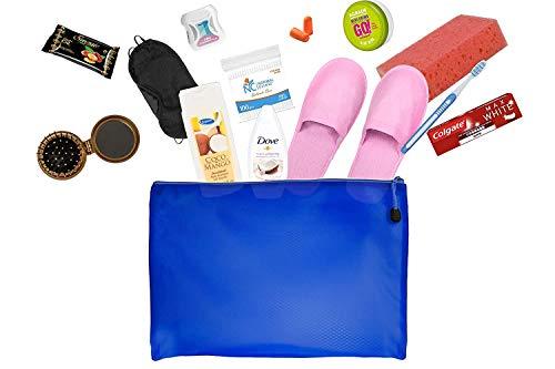 Reiseset mit Körperpflegeprodukten Bundle mit Colgate, Kappus Shampoo, Taube, Handcreme Agrado, Klinik, Zahnbürste, Feuchttüchern, Schwamm. Schlafmaske, Ohrstöpsel, Hausschuhe, faltbare Haarbürste