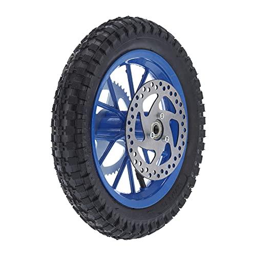Mini rueda trasera de bicicleta Aramox, rueda de aleación de acero de goma antideslizante de 12,5 x 2,75 pulgadas para bicicleta de tierra de 47 cc 49 cc de 2 tiempos(Azul)