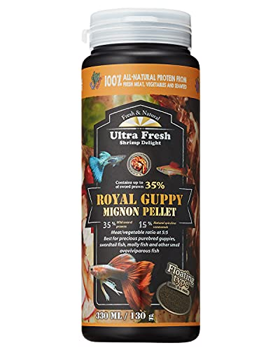 Ultra Fresh - Royal Guppy Mignon Pellet, 100% Natural Guppy Food, 35% Sword Prawns, 15% Natural Spirulina + Seaweeds, Highly Nutritious, for Cleaner Water and More Vibrant Color, Fish Food (4.6 Ounce)