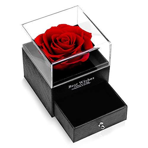 Rosa Eterna Preservadas Flores con Caja de Joyería Hecho a Mano Eternal Rose Romántico Aniversario Regalo para Esposa Madres Novia San Valentin Boda Cumpleaños