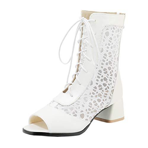MISSUIT Damen Sommer Stiefeletten Blockabsatz Stiefeletten mit Schnürung Cut Out Ankle Boots Peeptoe Schuhe(Weiß,40)