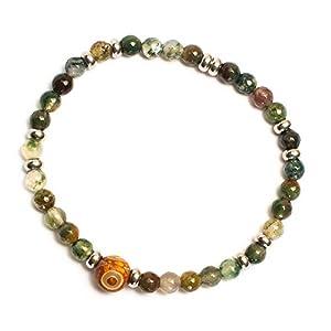 Kimaya Schmuck Herren-Armband, handgefertigt, Achat DZI und Achat, indisch, elastisch, Glücksbringer