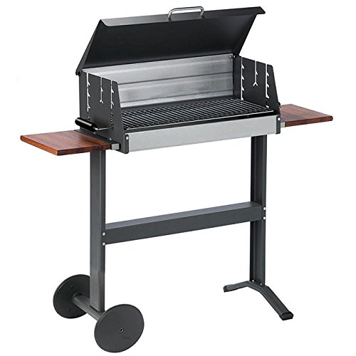 Dancook 5600 Grillfläsche 62×25 cm Hollow Barbecue with Wheels, 2 Side Shelf in hardwood