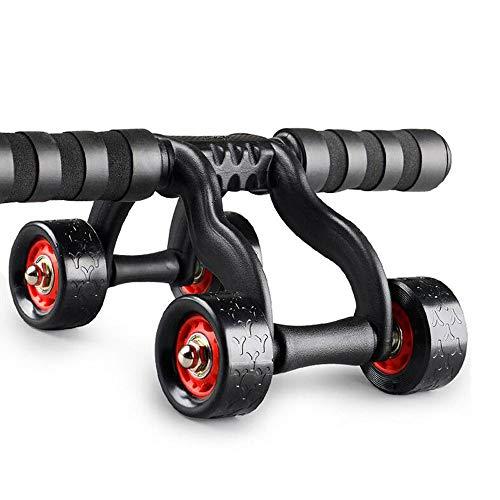 SYXX 4 Räder Rollen-Maschine, Bauch Fitness Roller mit 4 Rädern - Bauch-Workout, Core-Trainer Fitness Master Wheel Übung Fitnessgeräte - Training und Brennen Bauchfett - Bonus-Knie-Mat