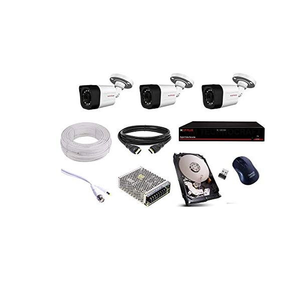 CP PLUS 1.3 MP 3 Bullet Camera, 1 TB Hard Disk, 4 Channel Power Supply, 4 Channel dvr, 90 mtr. Wire Bundle,Wireless Mouse with All Accessories
