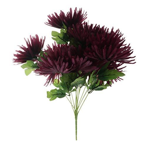 Fenteer Handgemachte Chrysanthemen Grabblumen Grabschmuck Grabgesteck Grabdekoration für Totensonntag und Allerheiligen - Lila