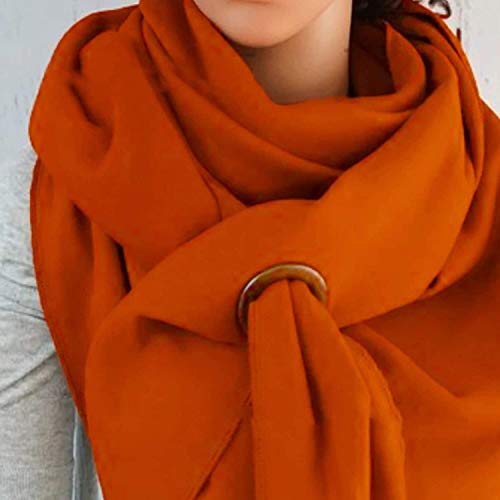 HSWJ Scarf ladies scarf autumn and winter solid color bib multifunctional scarf shawl outdoor warm scarf (Color : Orange)