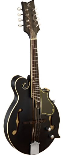 Ortega RMFE40SBK F-Style Serie Mandoline elektrifizert schwarz im seidenmatten Finish mit Ledergurt und hochwertigem Gigbag