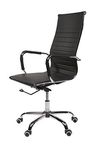 SVITA Design Bürostuhl Chrom Rahmen Elegance Chefsessel Drehstuhl Konferenz-Stuhl (Schwarz, Hohe Lehne)