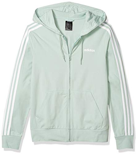 adidas Damen Essentials 3-Streifen Hoodie, Damen, Jacke, Essentials 3s Single Jersey Full Zip Hoodie, Grün/Weiß, X-Small