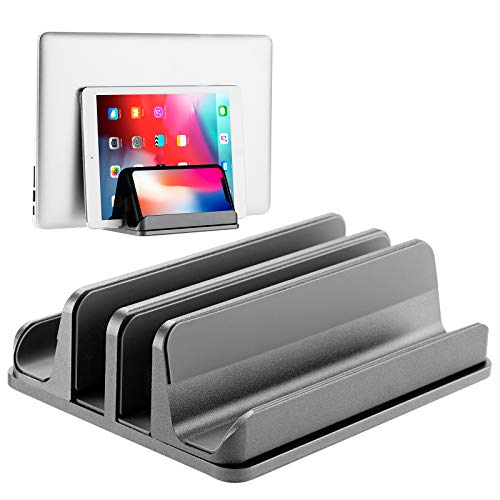 BECROWMEU 4 in 1 Vertical Laptop Stand,Adjustable Aluminum Double Space Desktop Holder Stand for All MacBook/Chromebook/Surface/Dell/iPad Laptops Up to 17.4 Inches,Grey