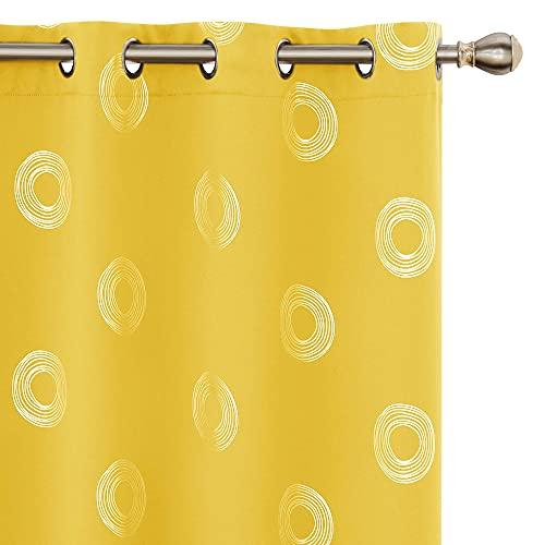 Amazon Brand - Umi Tende Oscuranti Tessuto Argentate Isolamento Termico con Occhielli per Cucina 140x260cm Giallo 2 Pezzi