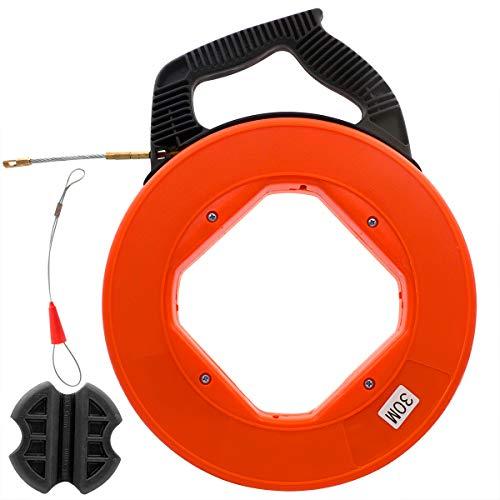 Akuoly Einziehband 30m Einziehdraht in Kunststoffgehäuse Einziehspirale ideales Einzugsband zur Kabelverlegung mit Führungsfeder Einziehhilfe Gummi
