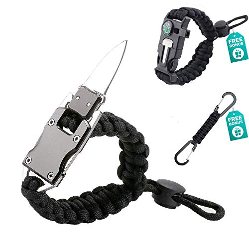 Paracord Knife Bracelet Adjustable Survival Gear with Stainless Steel Knife EDC Camping Survival Tactical Fire Starter Loud Whistle Keychain Lanyard for Men&Women Nice to Put on Go Bag or Back Pack