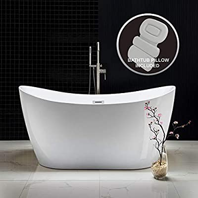 "WOODBRIDGE Acrylic Freestanding Bathtub Contemporary Soaking Tub with Brushed Nickel Overflow and Drain B-0016-B/N-Drain &O,with Spa Bath, 59"" B0016 + Pillow"