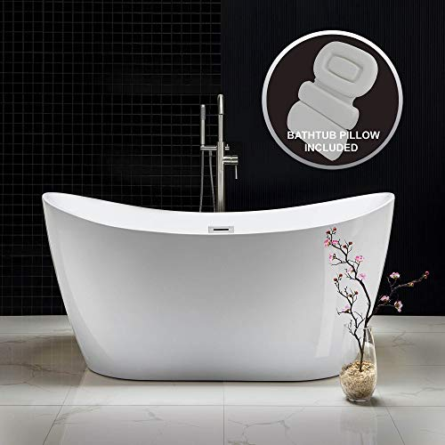 WOODBRIDGE Acrylic Freestanding Bathtub Contemporary Soaking Tub with Brushed Nickel Overflow and Drain B-0016-B/N-Drain &O,with Spa Bath, 59
