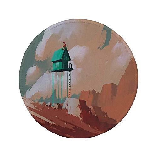 """Rutschfreies Gummi-rundes Mauspad Fantasy Art House-Dekor kleines Holzhaus auf Stone Hill mit Junge auf dem wolkigen Dach Artprint Tan Green 7.9\""""x7.9\""""x3MM"""