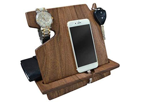 Adelaide I-Holz Telefon Walnuss-Dockingstation Schlüsselhalter Mappenstand Uhr Veranstalter