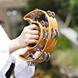 Handheld Rattle Tambourine with Double Layer Jingles Bells Double Half Moon Percussion Tambourine Drum Kids Musical Toy Gift