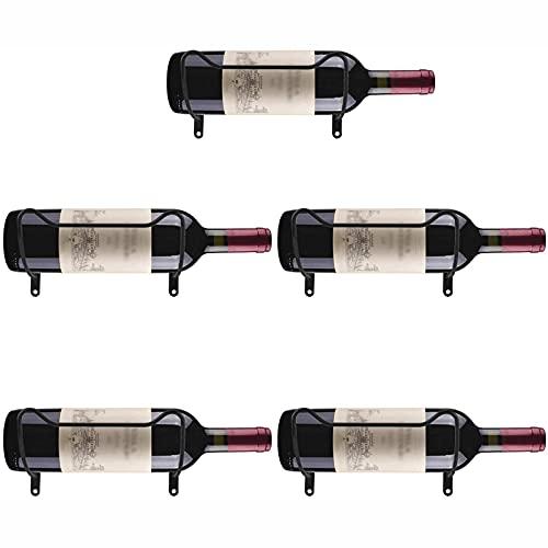 Estante de vino montado en la pared, soporte para botellas de vino de hierro, organizador de exhibición de botellas de licor colgante, regalos para los amantes del vino (1/5/10 unidades), paquete de 5