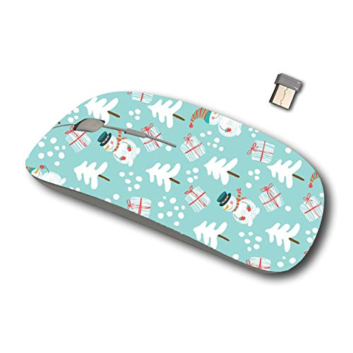 Joan 2.4G Wireless Mouse for Laptop, Ergonomic Computer Mouse with USB Receiver for Windows Mac PC Notebook (Snowman Santa Claus)