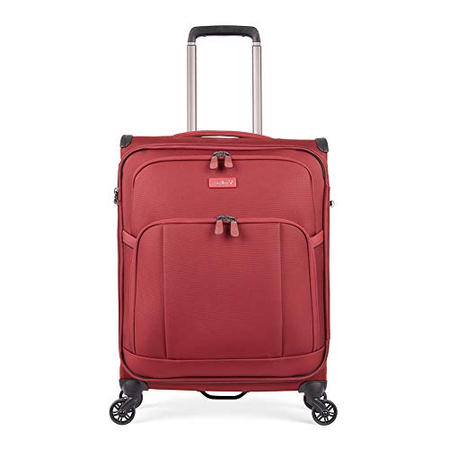 Antler Atmosphere, Durable & Lightweight Soft Shell Suitcase - Colour: Dark Red, Size: Cabin