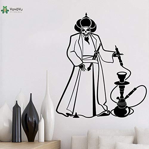 Wandtattoo Shisha Raumdekoration Entspannen Arabischer Schädel Aladdin Vinyl Art Abnehmbarer Aufkleber 57X68cm