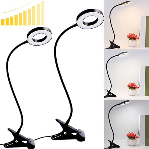 48LED Luz de Lectura USB con Pinza 2PCS Lámpara Lectura, 3 Modos Luz 10 Brillo Ajustable 360° Flexible Lámpara para Leer Luz LED USB para Estudio Cama Tablet [Clase de eficiencia energética A++]