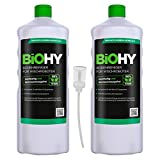 BiOHY Detersivo per pavimenti per robot di pulizia (2 bottiglie da 1l) + Distributore | Concentrato per tutti i robot di pulizia e aspirazione (Bodenreiniger für Wischroboter)
