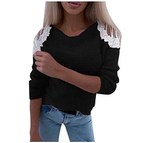 Dainzuy Blusas para Mujer, Informales, de Manga Larga, con Encaje Floral Hueco, de Retazos, Camisa de…