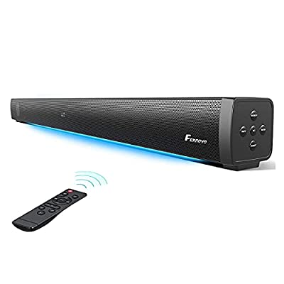 Foxnovo Sound Bars for TV: 60W Deep Bass TV Sound Bar with Breathing Light Wired & Wireless 3D Surrounded Home Theater Audio 109dB Mountable Sound Bar TV Speakers Optical/AUX/USB/ARC HDMI Connection