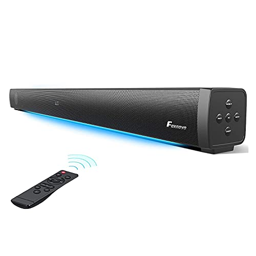 Foxnovo Sound Bars for TV: 37-In 109dB Soundbar with Built-in Subwoofer & Breathing Light 3 EQ Modes Home Theater Audio System 11 Adjustable Bass Sound Bar for TV Optical/AUX/USB/ARC/HDMI Connection
