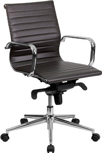 Mid-Back Ribbed Upholstered Leather Conference Chair Brown